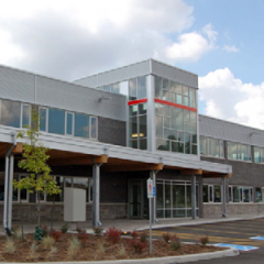 Photo of front of industrial/office flex building at 525 Cochrane Drive
