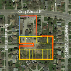 Aerial of land at 1015 King Street E, Oshawa
